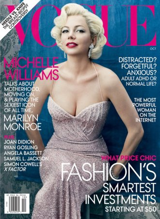 Michelle Williams в образе Marilyn Monroe в журнале Vogue US (октябрь 2011)